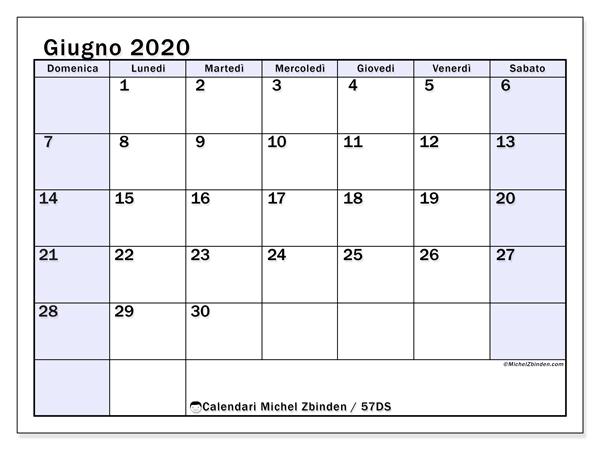 Calendario giugno 2020, 57DS. Calendario mensile da stampare gratuitamente.