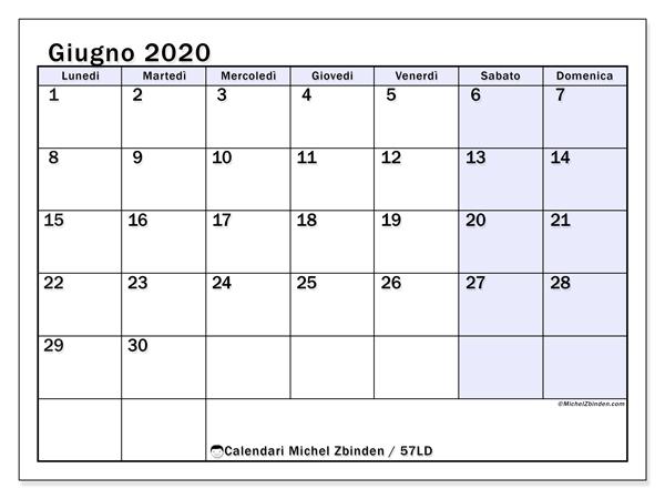 Calendario giugno 2020, 57LD. Orario da stampare gratis.
