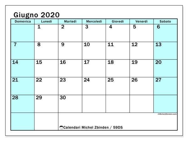 Calendario giugno 2020, 59DS. Calendario gratuito da stampare.