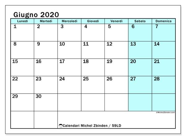 Calendario giugno 2020, 59LD. Calendario mensile da stampare gratuitamente.