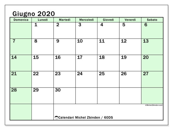 Calendario giugno 2020, 60DS. Calendario per il mese da stampare gratuitamente.