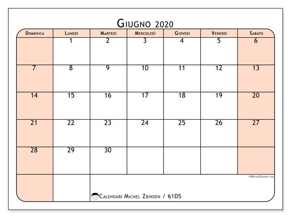 Calendario giugno 2020, 61DS. Calendario stampabile gratuito.