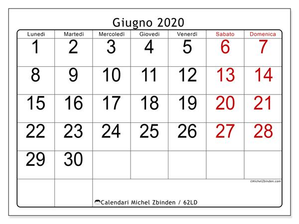 Calendario giugno 2020, 62LD. Calendario per la stampa gratis.
