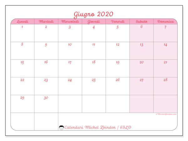 Calendario giugno 2020, 63LD. Calendario per la stampa gratis.
