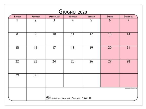 Calendario giugno 2020, 64LD. Calendario mensile da stampare gratuitamente.
