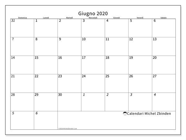 Calendario giugno 2020, 70DS. Calendario per la stampa gratis.