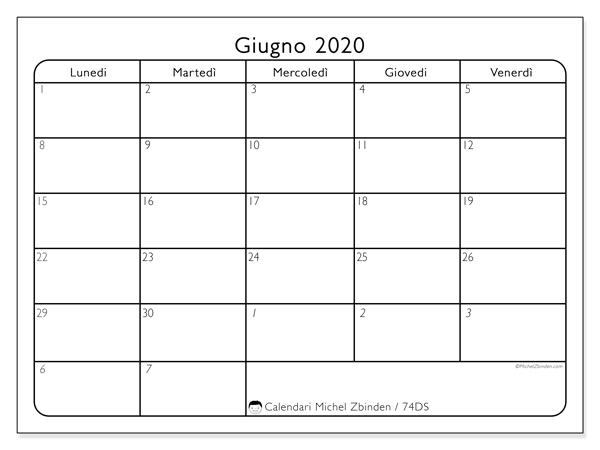 Calendario giugno 2020, 74DS. Calendario per il mese da stampare gratuitamente.