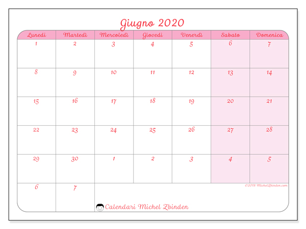 Calendario Di Giugno 2020.Calendario Giugno 2020 76ld Michel Zbinden It
