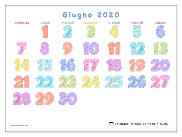 Calendario giugno 2020, 83DS. Calendario mensile da stampare gratuitamente.