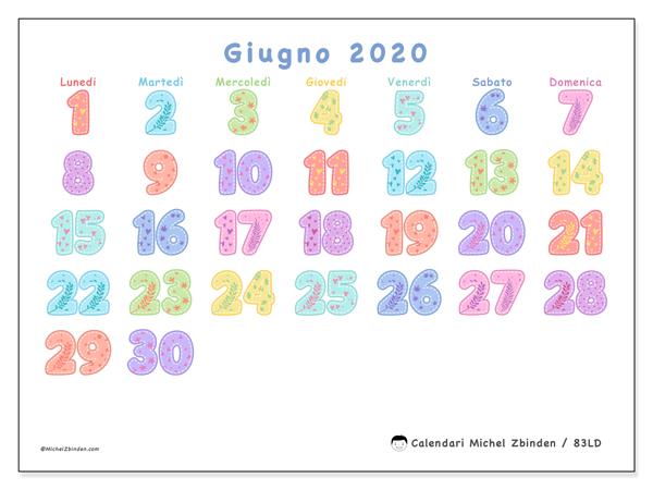 Calendario giugno 2020, 83LD. Calendario mensile da stampare gratuitamente.