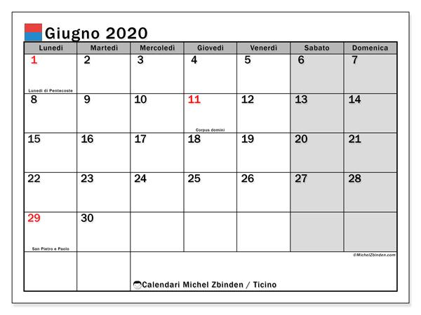 Calendari giugno 2020, con giorini festivi in Ticino. Calendario gratuito da stampare.