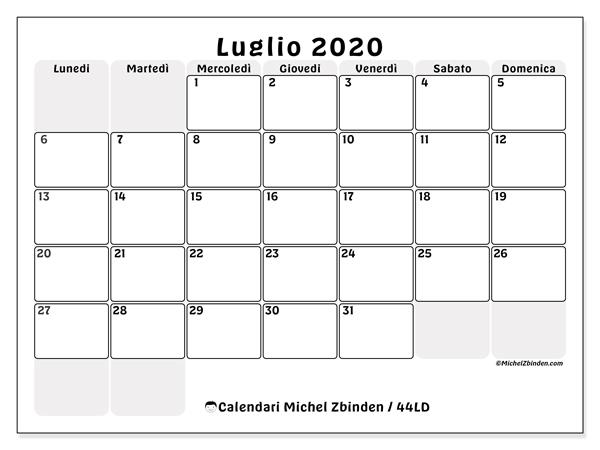 Calendario Luglio 2020 Pdf.Luglio 2020 Calendario Calendario 2020