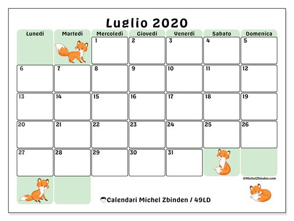 Calendario luglio 2020, 49LD. Calendario da stampare gratis.