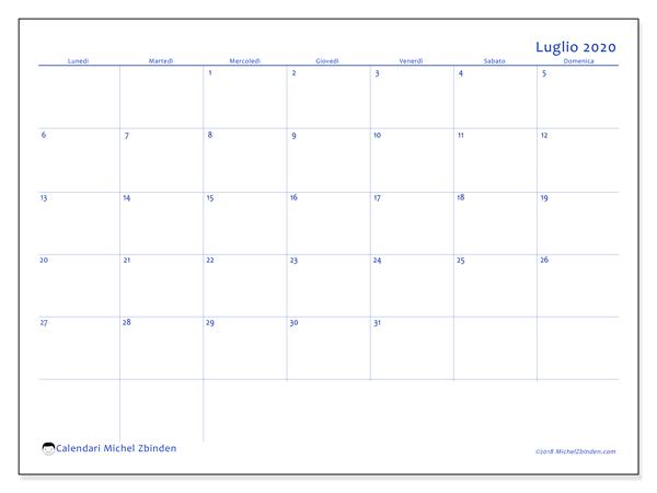 Calendario Luglio 2020 Da Stampare.Calendario Luglio 2020 55ld Michel Zbinden It