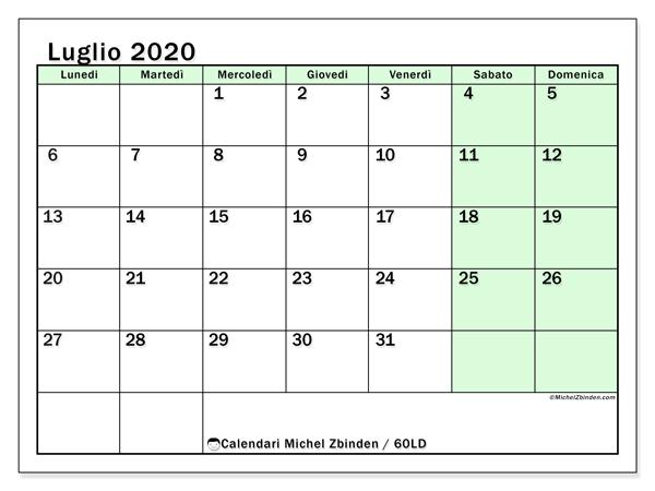 Calendario Trimestrale 2020.Calendario Luglio 2020 60ld Michel Zbinden It