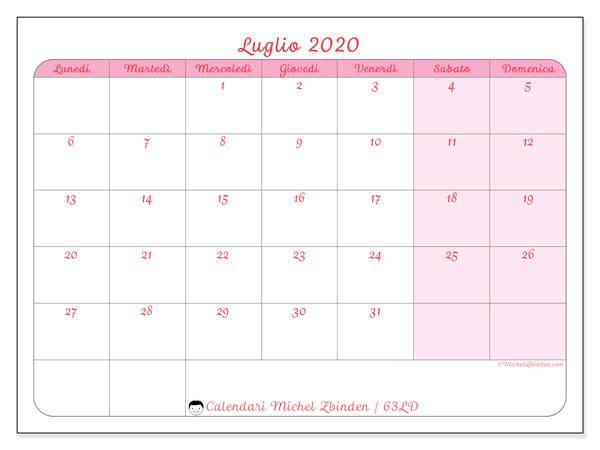 Calendario luglio 2020, 63LD. Calendario per il mese da stampare gratuitamente.