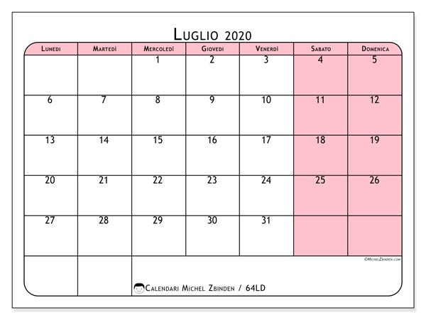 Calendario luglio 2020, 64LD. Calendario per la stampa gratis.