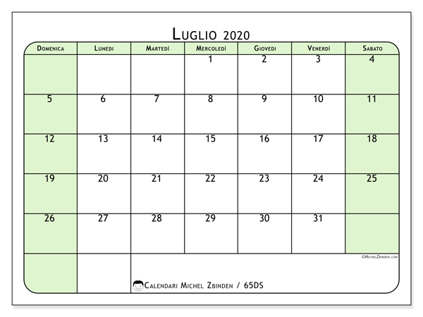 Calendario Luglio Agosto 2020.Calendari Luglio 2020 Ds Michel Zbinden It