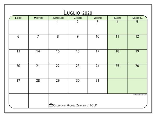 Calendario luglio 2020, 65LD. Calendario mensile da stampare gratuitamente.