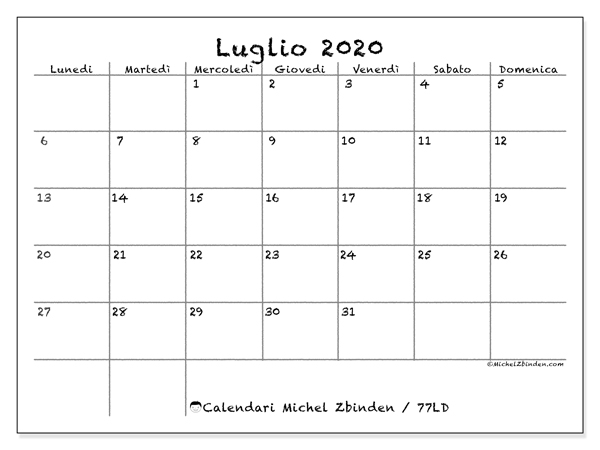 Calendario luglio 2020, 77LD. Calendario stampabile gratuito.