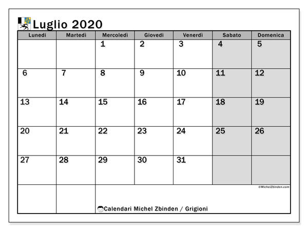 Calendario luglio 2020, con giorni festivi dei Grigioni. Calendario da stampare gratuita con giorni festivi.