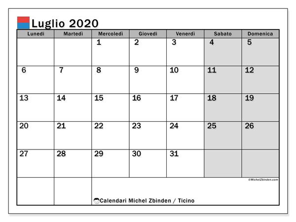 Calendario luglio 2020, con giorni festivi in Ticino. Calendario Vacanze e festività per stampare gratuitamente.