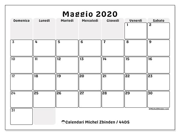 Calendario maggio 2020, 44DS. Calendario per il mese da stampare gratuitamente.