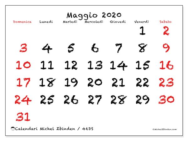 Calendario maggio 2020, 46DS. Calendario gratuito da stampare.