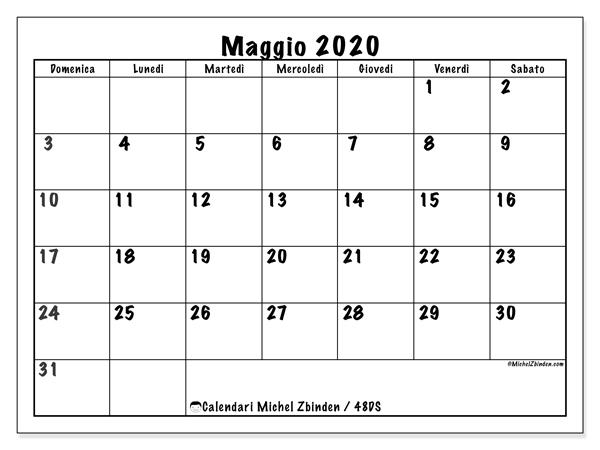 Calendario maggio 2020, 48DS. Calendario stampabile gratuito.