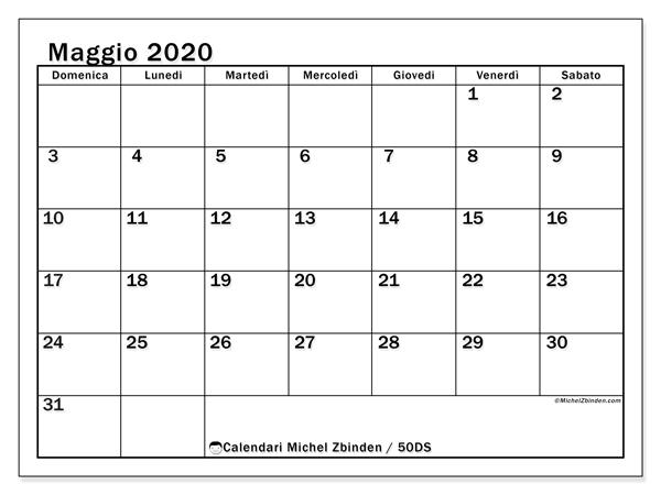 Calendario maggio 2020, 50DS. Calendario mensile da stampare gratuitamente.