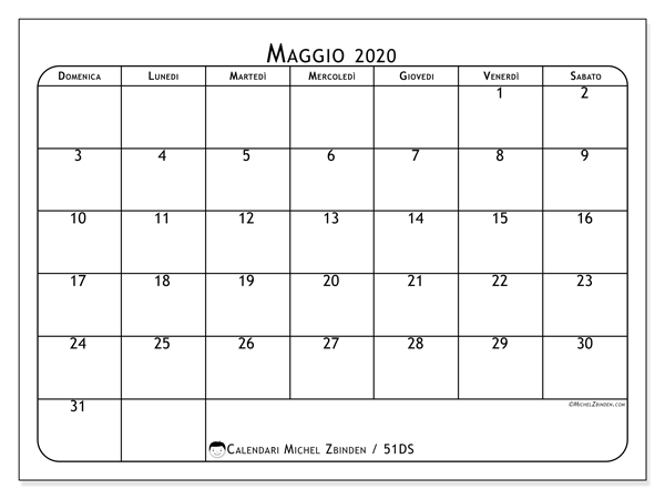 Calendario maggio 2020, 51DS. Calendario mensile da stampare gratuitamente.