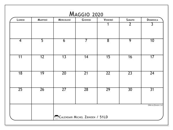 Calendario maggio 2020, 51LD. Calendario mensile da stampare gratuitamente.