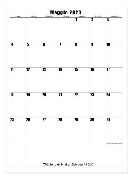 Calendario maggio 2020, 52LD. Orario da stampare gratis.