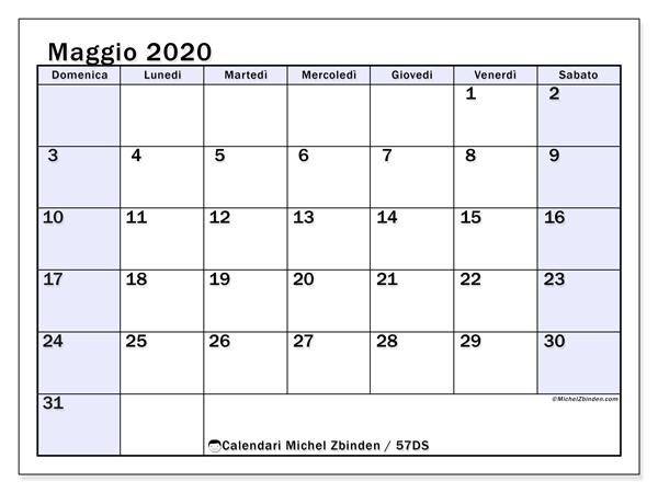 Calendario maggio 2020, 57DS. Calendario da stampare gratis.