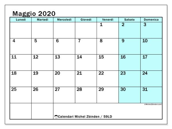 Calendario maggio 2020, 59LD. Calendario per la stampa gratis.