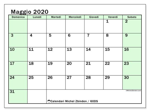Calendario maggio 2020, 60DS. Calendario gratuito da stampare.