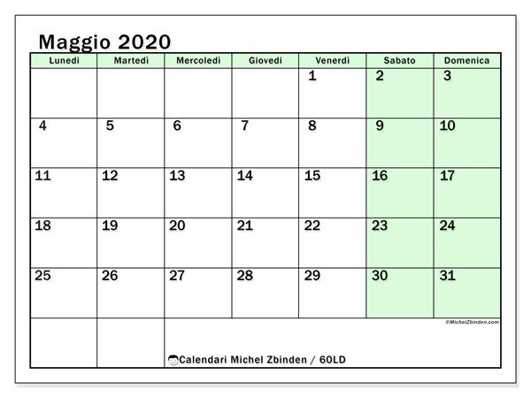 Calendario maggio 2020, 60LD. Calendario per il mese da stampare gratuitamente.