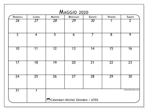 Calendario maggio 2020, 67DS. Calendario gratuito da stampare.