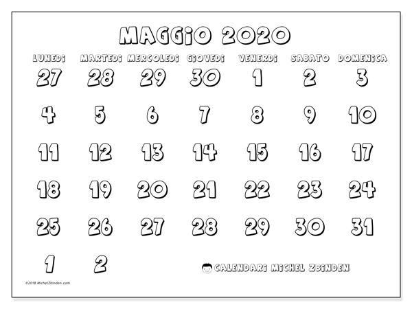 Calendario 2020 Da Colorare Per Bambini.Calendario Maggio 2020 71ld Michel Zbinden It