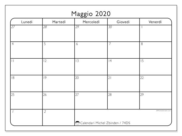 Calendario maggio 2020, 74DS. Calendario per il mese da stampare gratuitamente.