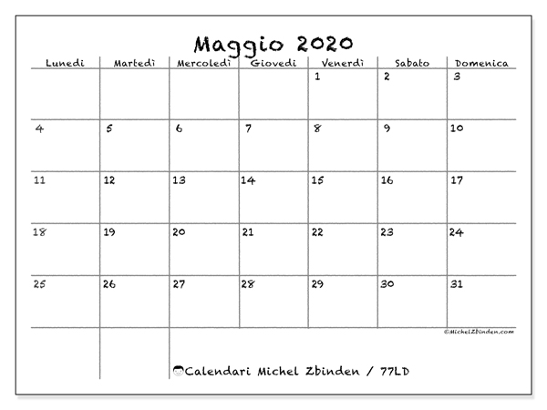 Calendario Da Stampare 2020 Gratis.Calendario Maggio 2020 77ld Michel Zbinden It
