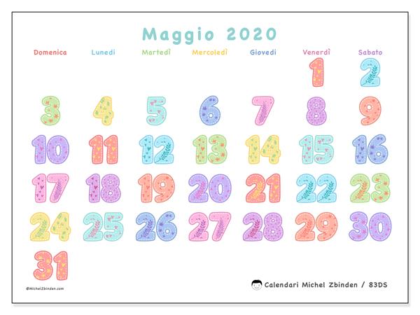 Calendario maggio 2020, 83DS. Calendario mensile da stampare gratuitamente.
