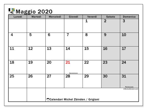 Calendari maggio 2020, con giorini festivi del Cantone dei Grigioni. Calendario stampabile gratuito.