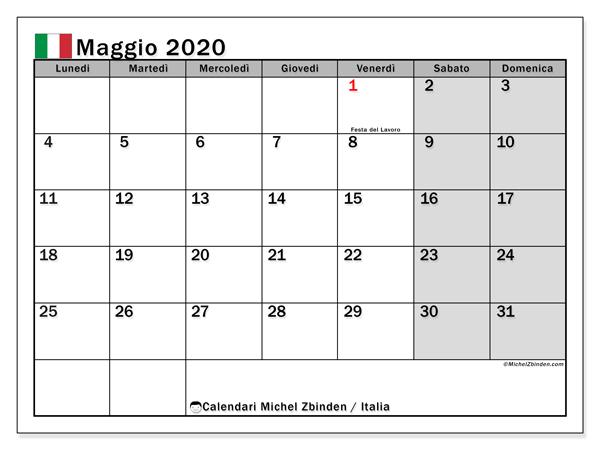 Calendari maggio 2020, con  in Italia. Calendario mensile da stampare gratuitamente.