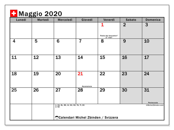 Calendario maggio 2020, con giorni festivi della Svizzera. Calendario Vacanze e festività per stampare gratuitamente.