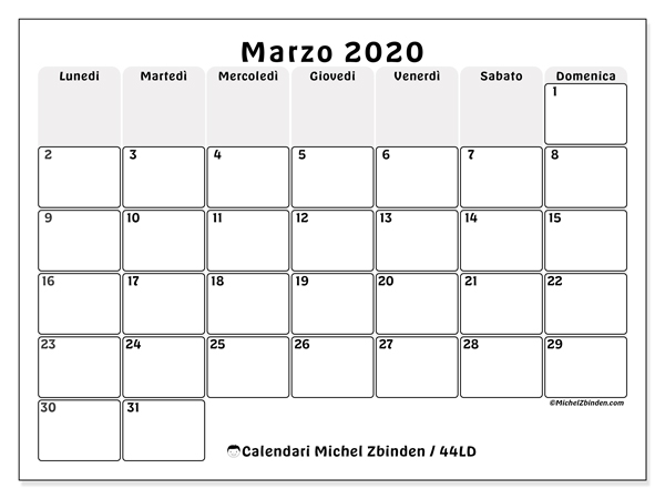 Calendario 2020 Da Scaricare.Calendari Marzo 2020 Ld Michel Zbinden It