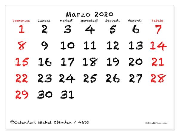 Calendario marzo 2020, 46DS. Calendario gratuito da stampare.