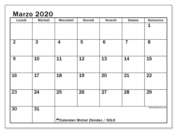 Calendario Mensile 2020 Pdf.Calendari Marzo 2020 Ld Michel Zbinden It