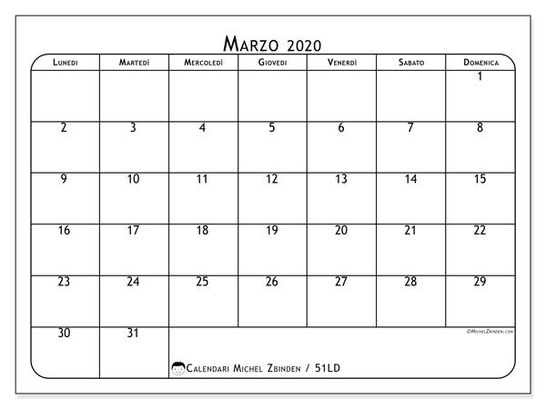 Calendario marzo 2020, 51LD. Orario da stampare gratis.