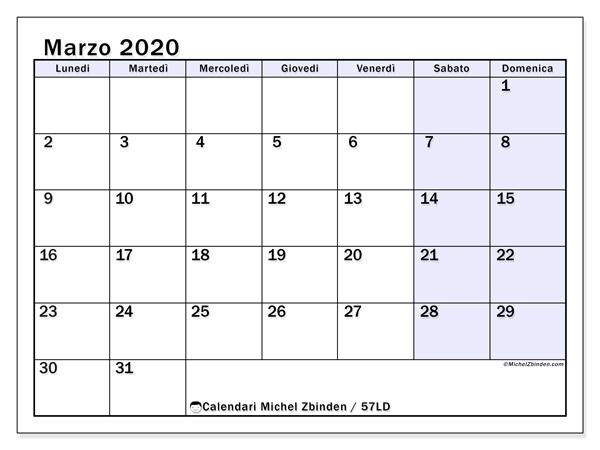 Calendario Marzo 2020.Calendario Marzo 2020 57ld Michel Zbinden It